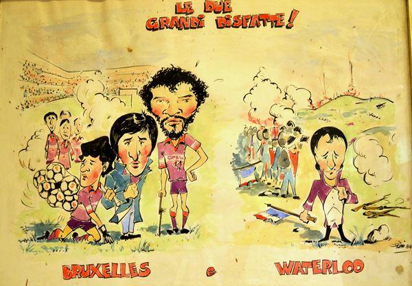 Lotto di dieci vignette e caricature firmate Pelini (?)acquerello e china,