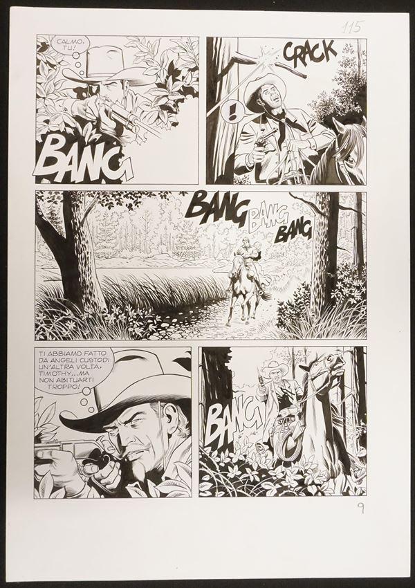 """Rossano Rossi, Tex - """"L'assassino nell'ombra""""tavola originale per l'albo n."""