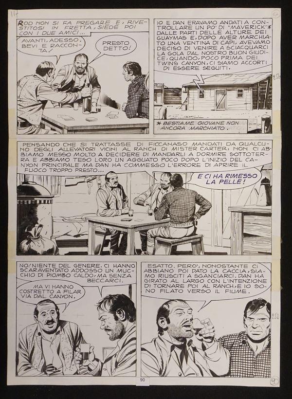 """Guglielmo Letteri (1926-2006), Tex - """"El Paso""""tavola originale dell'albo"""
