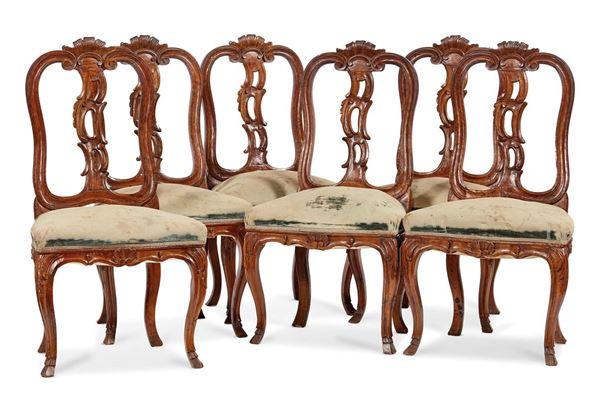 Sei sedie, Veneto, sec. XIX
