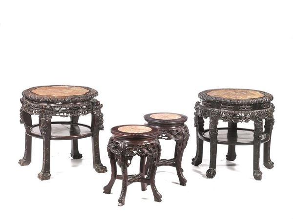 Gruppo di quattro tavolini, Cina, sec. XX