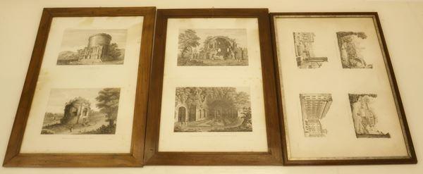 Scuola del sec. XIX TEMPLI, PALAZZI e FORI ROMANI otto stampe, cm 60x40 (8)