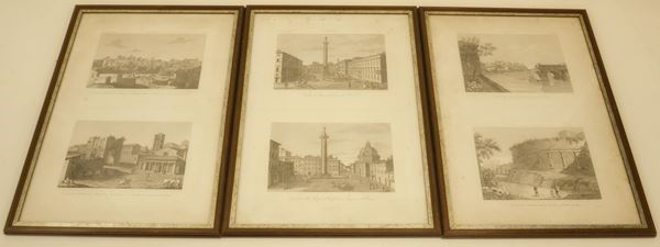 Scuola del sec. XIX VEDUTE DI ROMA sei stampe, cm 42x62 (6)