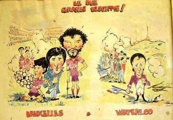 Lotto di nove vignette e caricature firmate Pelini (?)