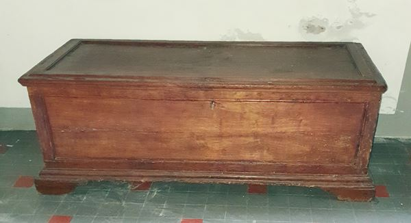 Cassapanca, sec. XVIII, in gattice, piano rettangolare