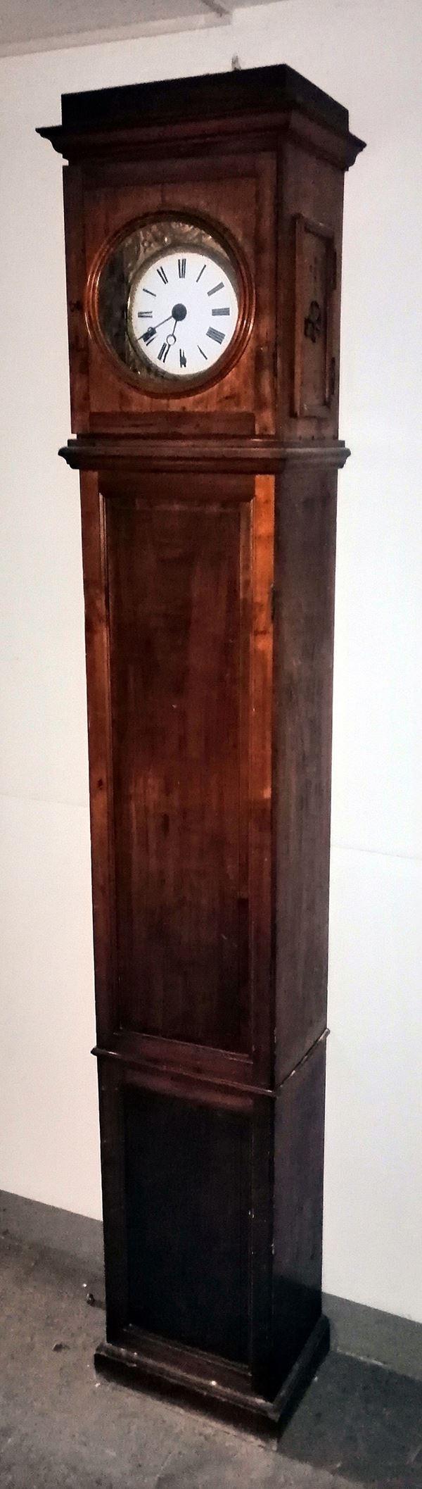 Orologio a colonna, sec.XIX, cassa in abete,