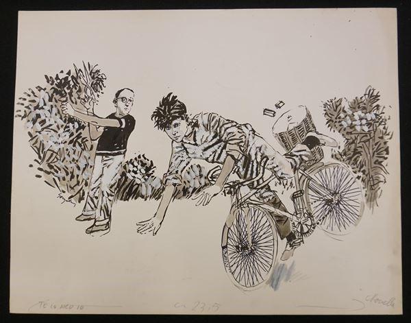 """Lotto di quattro illustrazioni firmate Gonzales e una firmata Boulii, eseguite per le riviste """"Novella"""" e """"Bella"""", tecnica mista su cartoncino, cm 52,2x35"""