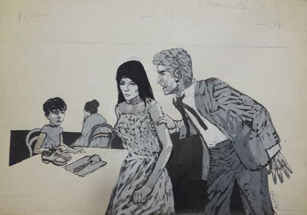 """Lotto di cinque illustrazioni firmate Gonzales, eseguite per le riviste """"Novella"""" e """"Bella"""""""
