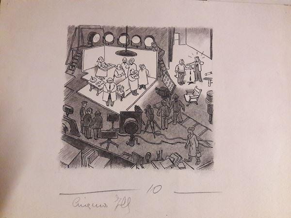 Lotti di sei illustrazioni di autori non identificati