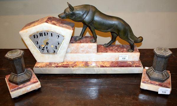 Orologio da tavolo e due elementi decorativi, Art Deco