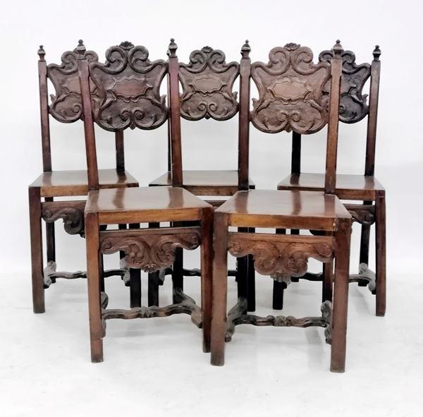 Cinque sedie, in stile 700