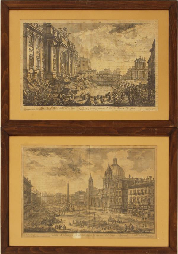 Due stampe da Giovan Battista Piranesi, sec. XIX